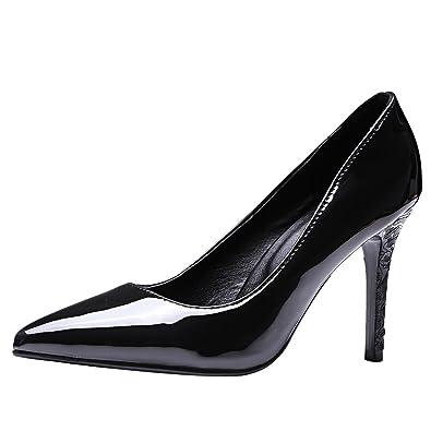 MissSaSa Damen Glitzer Lack Stiletto Leder-Pumps37 EUWeinrot