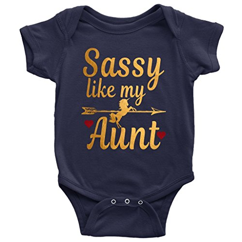 Newborn Baby Shower Sassy Like My Aunt Gold Unicorn Onesies Bodysuit Outfits