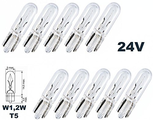 24 V –  Lot de 10 –  W 1,2 W –  T15 – -1,2 W –  É clairage d'utilitaire camion –  É clairage de tableau de bord Ampoule, c