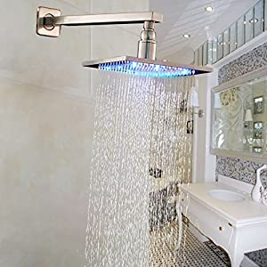 Rozin Brushed Nickel LED Light 10 Inch Top Shower Head with Wall Mounted Shower Arm