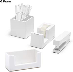 Poppin 10 Piece Set Fresh Start Desk Collection (White)