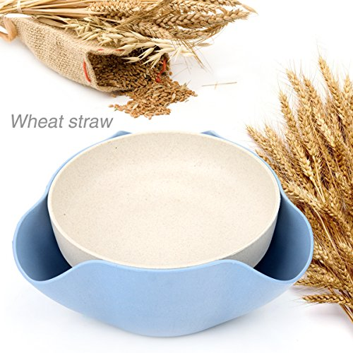 Wheat Straw Double Dish for Pistachios, Peanuts, Edamame, Cherries, Nuts, Fruits, Candies, Snacks Plastic Serving Dishes and Bowls (Blue 6.7 x 3 in) Double Nut Dish