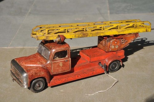 Vintage Wind Up Litho Fire Brigade Truck Tin Toy , Japan?
