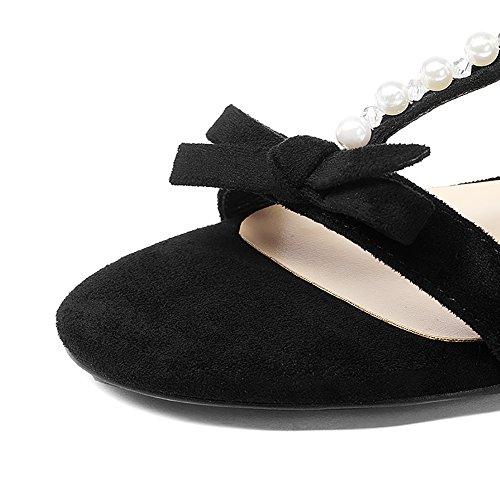 Wilde Schuhe Unterseite Kleine größe Frau Farbe Low Sandalen ZCJB Frische Freizeit Heels Offene Zehe Sommer Schwarz Flache 35 Damenschuhe wHxOq0EC