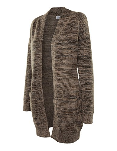 Cielo Women's Chunky Duster Marbled Knit Long Cardigan Sweater Khaki L