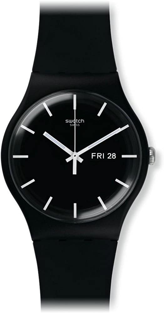 Swatch Mono Black Quartz Watch with Silicone Strap, 20 (Model: SUOB720)