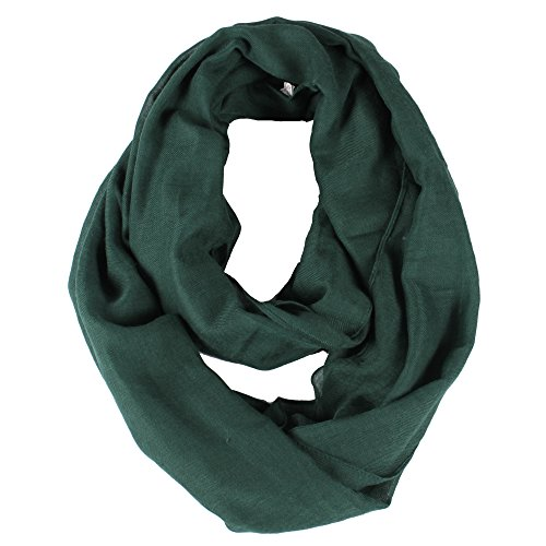 Solid Color Infinity Lightweight Women Soft Scarf Dark Green