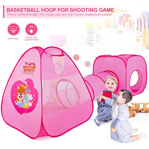 Peradix Kids Play Tent with Tunnel 3 in 1, Baby Ball Pit Pop Up Tent with Basketball Hoop, Toddler Tent Crawl Tunnel Playhouse Toys Games Gift For Boys Girls Outdoor/Indoor/Garden