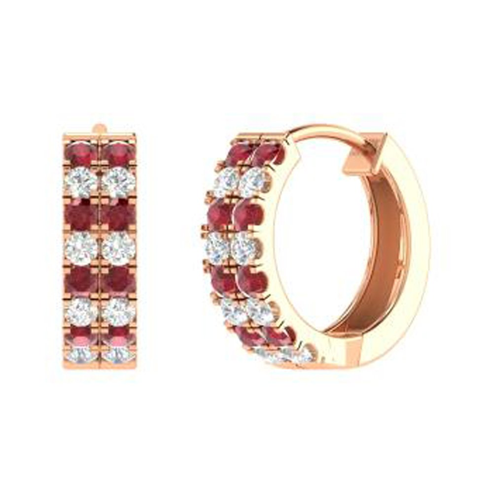 Ringjewels Womens /& Girls 0.48 Ctw Round Cut Ruby /& Sim Diamond Hoops Earrings In 14K Gold Plated 925