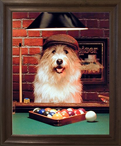 Pool Playing Dogs Framed (Impact Posters Gallery Framed Wall Decoration Picture Cute Dog Playing Pool Funny Wildlife Animal Brown Art Print)