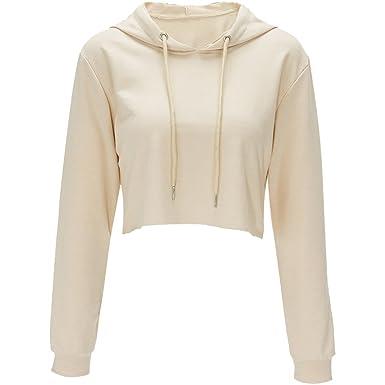 00ec7abfa Cropped Pullover Hoodies for Women Women's Hooded Sweatshirt Jumper Womens  Sweatshirts for Women Crop Top Hoodie Plain Loose Casual Long Sleeve Shirts  Sweat ...