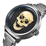 Men's Golden 3D Skull Dial Wrist Watch Waterproof Stainless Steel Strap Unique Hollow Pointer Watches PAGANI DESIGN