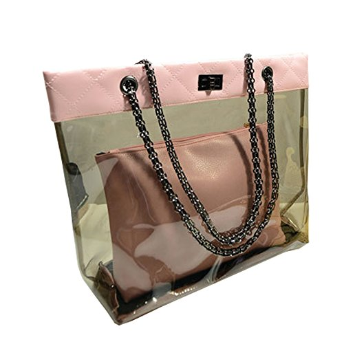 FTSUCQ Womens Casual Chain Clear Tote Transparent Beach Handbag Pink Trapeze Bags (Link Leather Black Bag Shoulder Chain)