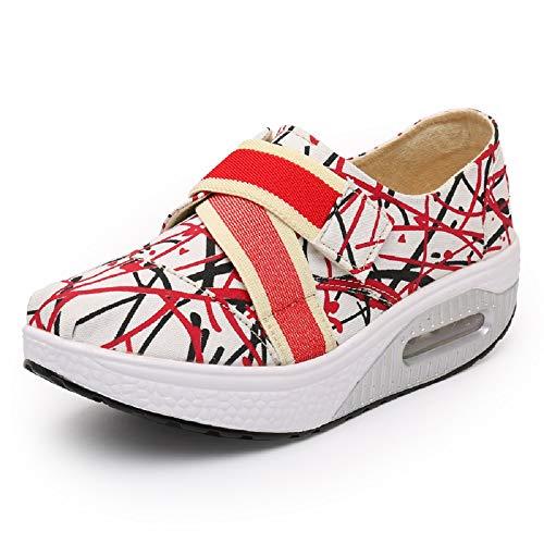 36 Color tamaño Shake Entrenadores Qiusa Zapatos Rojo elástico Plaid Rocker Rojo EU Sole Mujer Lienzo gwPxOnRwz