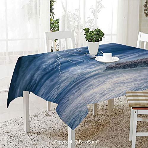 AmaUncle Party Decorations Tablecloth Lighthouse Thunderstorm Turbulent Wind Moody Weather Dramatic Sky Scene Kitchen Rectangular Table Cover (W60 xL104) -