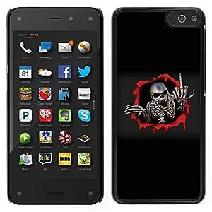 Caucho caso de Shell duro de la cubierta de accesorios de protección BY RAYDREAMMM - Amazon Fire Phone - Dedo del metal Skeleton Medio