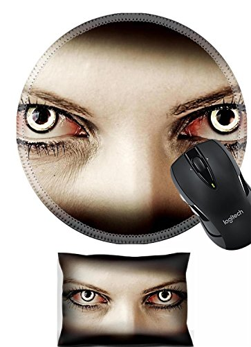 Liili Mouse Wrist Rest and Round Mousepad Set, 2pc Wrist Support IMAGE ID: 18733912 Evil bloody female zombie eyes dirt make up Macro Halloween (Zombie Makeup Tips Halloween)