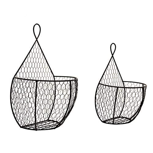 Useful UH-WB234 Double Hanging Display Storage Baskets - Pair of Wall Mount Baskets 1 Large 1 Small Wall Hanging Units for Flowers, Fruits and Veggies, Decorations, and More (Hanging For Kitchen Wicker Baskets)