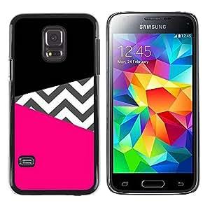 rígido protector delgado Shell Prima Delgada Casa Carcasa Funda Case Bandera Cover Armor para Samsung Galaxy S5 Mini, SM-G800, NOT S5 REGULAR! /Black Pink Pattern Fashion Design/ STRONG