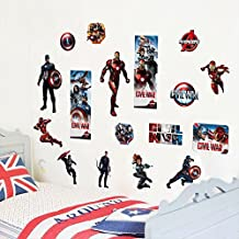 Fangeplus(TM) DIY Removable The Avengers Civil War Marvel Comics Art Mural Vinyl Waterproof Wall Stickers Kids Room Decor Nursery Decal Sticker Wallpaper 23.6''x11.8''