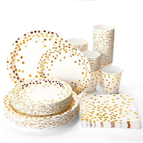 Halulu Gold Dot Disposable Paper Plates Set 200pc – Birthday Anniversary Retirement Wedding Supplies Tableware with 50…