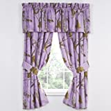 Cheap Set of Two (2) Realtree AP Lavender 5 pc. Valance/ Drape Set (63 inch Drape Length)