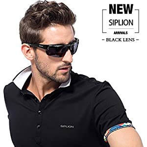 SIPLION Men's Polarized Sunglasses Sports Glasses for Cycling Fishing Golf TR90 Superlight Frame 502 BLACK