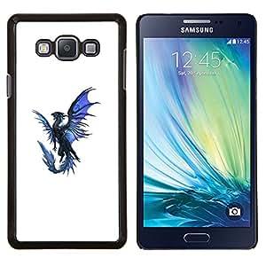LECELL--Funda protectora / Cubierta / Piel For Samsung Galaxy A7 A7000 -- Dragón Azul Negro Flying criatura mítica --
