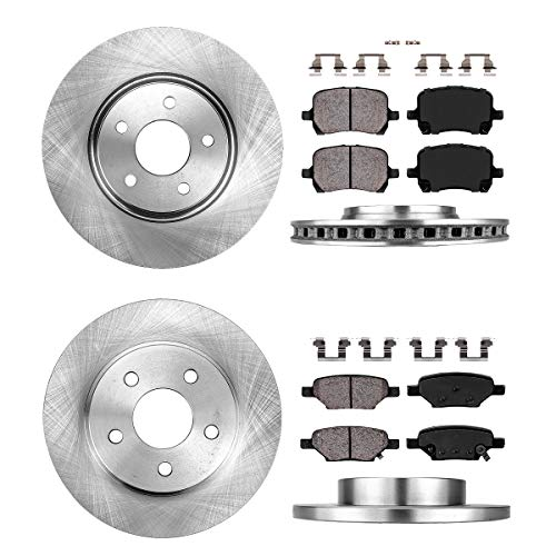 (FRONT 295.8 mm + REAR 270 mm Premium OE 5 Lug [4] Rotors + [8] Quiet Low Dust Ceramic Brake Pads +)