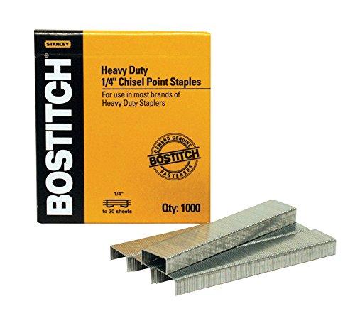 - Bostitch Heavy Duty Premium Staples, 2-25 Sheets, 0.25 Inch Leg, 1,000 Per Box (SB351/4-1M)