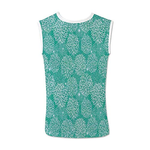 Dahlia Flower Decor Comfortable Tank Top,Repeating Figures Fashioned Dots Spots Mother Earth Peony Graphic Image for - Peony Nikkis