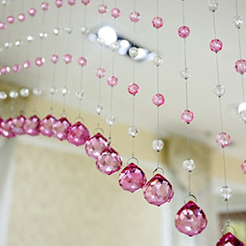 - MEIBY String Line Curtain Beads, Glass Crystal Curtain for Living Room Bedroom Window Door Wedding Decor, Crystal Bead Curtain(12-14-16mm,pink)
