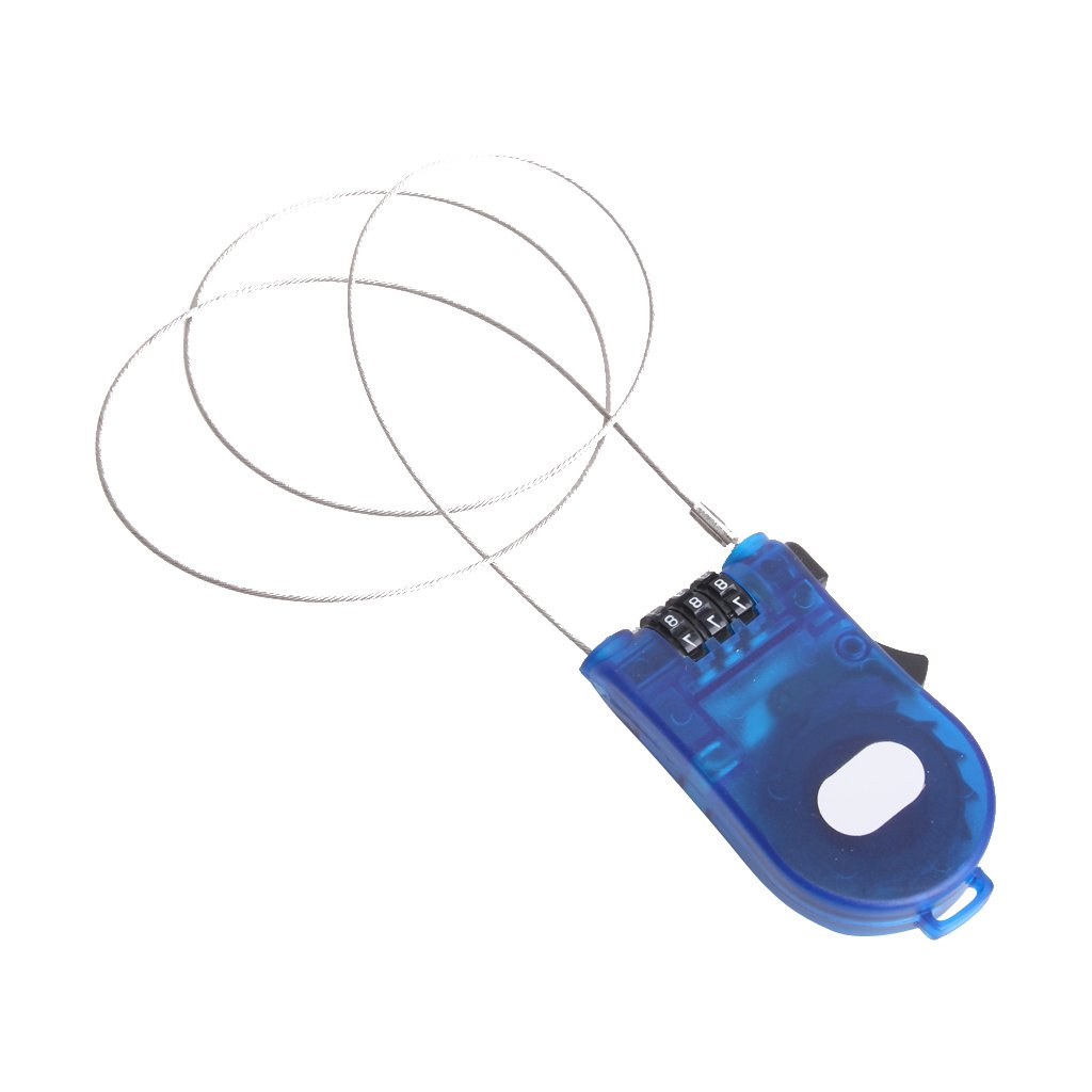 3 Feet Retractable Combination Cable Lock For Bike Luggage Blue Generic