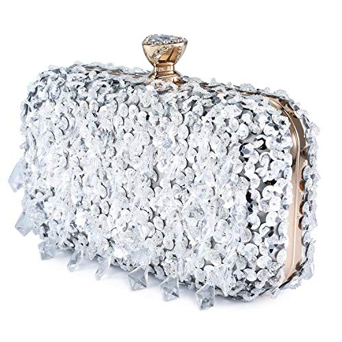 Clocolor Evening Bags and Clutches for Women Sequins Purse Beads Clutch Handbag (Silver)