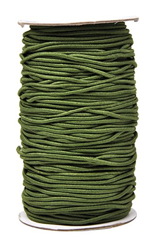 (Mandala Crafts 2mm 76 Yards Fabric Elastic Cord, Round Rubber Stretch String for Journals, Beading, Jewelry Making, Masks, DIY Crafting (Olive Green))