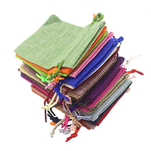 Fyess 20 PCS Christmas Party Bags Burlap Bags with Drawstring Gift Bags for Wedding Party,Arts & Crafts Projects, Presents, Snacks & Jewelry,Christmas Natural Muslin Drawstring Bags 100% Cotton Wove by Fyess (Image #3)'