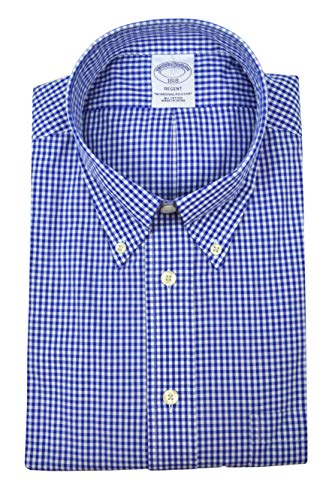 Brooks Brothers Men's Regent Fit The Original Polo Button Down Shirt Gingham Plaid (Blue, Medium) from Brooks Brothers