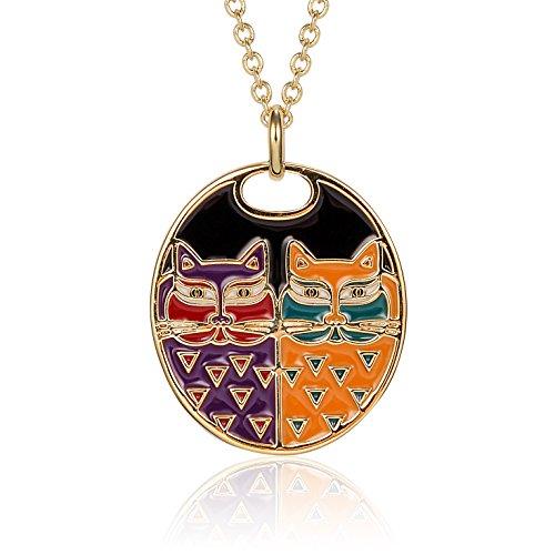 Laurel Burch Portrait Cats Cloisonne Pendant w/ Necklace