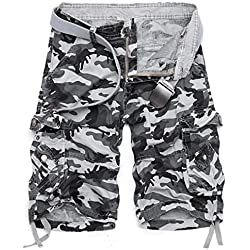Men's casual large size cargo shorts-Light grey-34