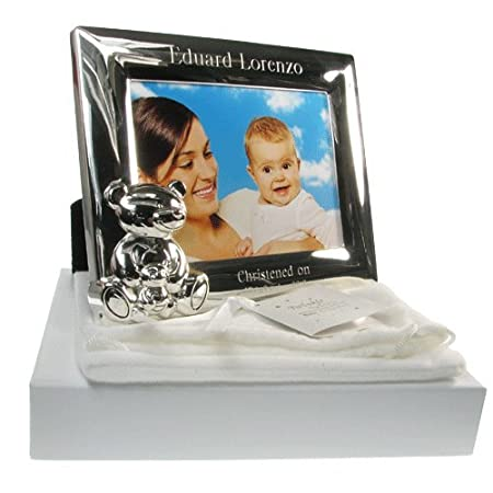 Christening Gift, Engraved Silver Plated Baby Christening Photo ...