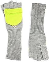 AQUA Brand Women's Gray & Neon Yellow Contrast Convertible Flip-Top Fingerless Gloves