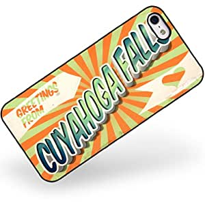 Rubber Case for iphone 5 5s Greetings from Cuyahoga Falls, Vintage Postcard - N