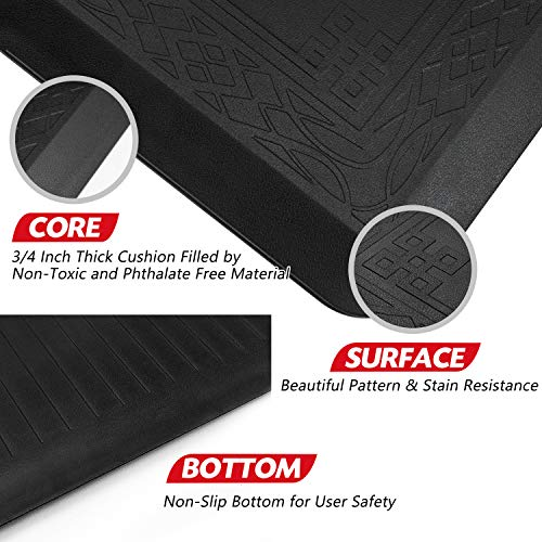 """Anti Fatigue Comfort Mat by DAILYLIFE, Non-Slip Bottom - 3/4"""" Thick Durable Kitchen Standing Floor Mat with Extra Support at Home, Office and Garage - Waterproof & Easy-to-Clean (24"""" x 60"""", Black)"""