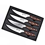 Senior Steak knife - Steak Knives Set of 4, Serrated Edge High Carbon German Stainless Steel,Pakka Wood Handle Ergonomics Design WALLOP