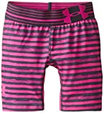"Under Armour Girls' HeatGear Armour Printed Short – 5"", Asphalt Heather/Lead, Youth Large"