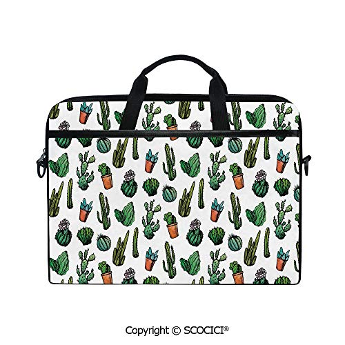 Customized Printed Laptop Bag Notebook Handbag Sketchy Spiked Mexican Garden Foliage Boho Hand Drawn Line Art Cacti in Pots Decorative 15