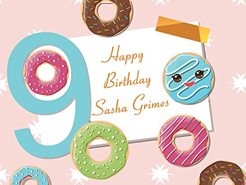 Custom Cartoon Donuts 9 Year Old Kids Birthday Poster, Personalized Donuts Emoji Birthday Party Banner Wall Décor, Birthday Banner, Handmade Party Supply Poster Print Size 24x36, 48x24, 48x36 -