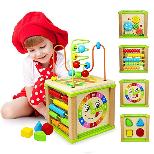 Ulmisfee 5-in-1 Activity Cube Toys Baby Educational Wooden Bead Maze Shape Sorter Toys for Boys Girls Kids Toddlers Gifts Activity Center (Feels Like A Splinter In My Finger)