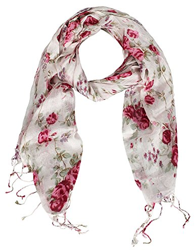 Peach Couture Chic Vintage Inspired Floral Print Fringe Pashminas (Fuchsia) (Vintage Print Scarf)