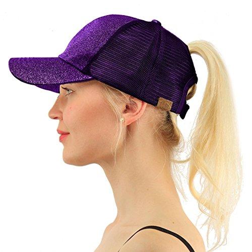 C.C Ponytail Messy Buns Trucker Ponycaps Plain Baseball Visor Cap Dad Hat Glitter Purple (Slides Baseball)